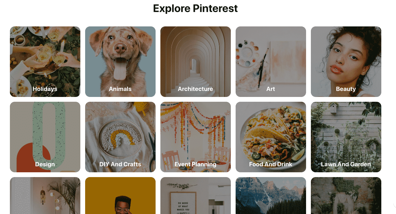 pinterest categories page